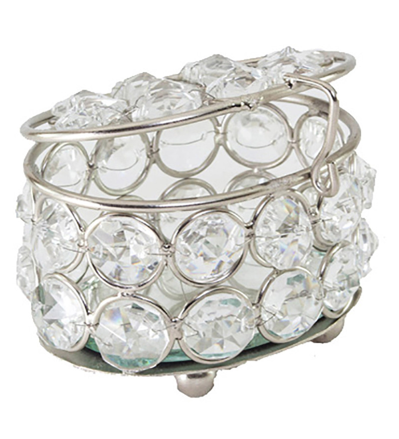Homesake Rounded Crystal Silver Jewellery Box