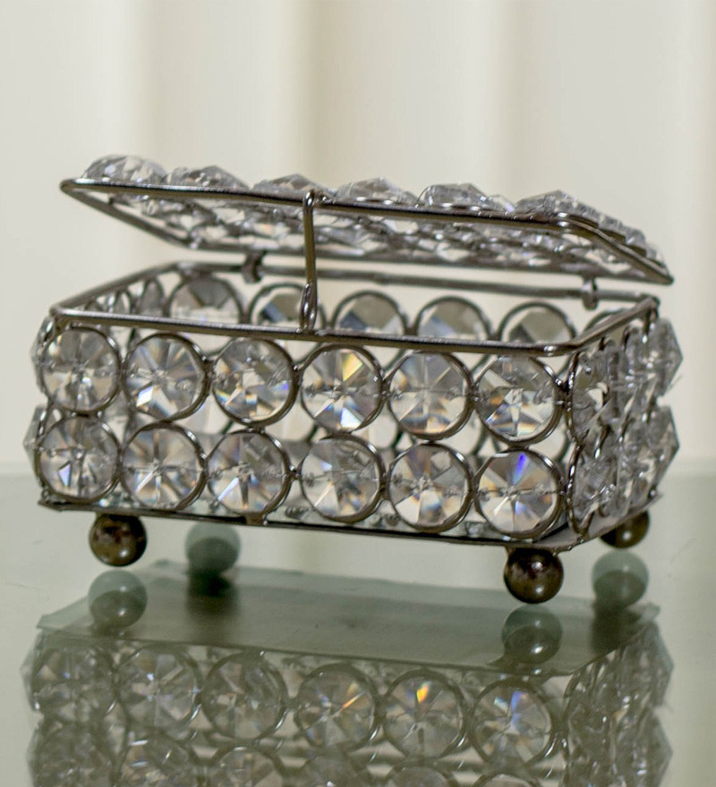 Homesake Rectangular Crystal Silver Jewellery Box