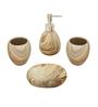 Home Belle Beige Ceramic Bathroom Accessories - Set of 4