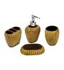 Home Belle Brown Marbel Bathroom Accessories - Set of 4