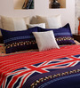 Home Creation Red & Blue Polyester 94 x 86 Inch Double Bed Sheet (with Pillow Covers)