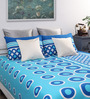 Home Ecstasy Blue Cotton Geometric Pattern Queen Size Bed Sheet with 2 Pillow Covers-Set of 3