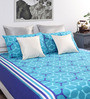 Home Ecstasy Blue Cotton Printed Double Bed Sheet with 2 Pillow Covers-Set of 3