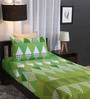 Home Ecstasy Green Cotton Single Size Bed Sheet - Set of 2