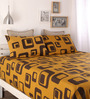 Home Ecstasy Mustard Cotton Queen Size Bed Sheet - Set of 3