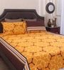 Home Ecstasy Yellow Cotton Queen Size Bed Sheet - Set of 3