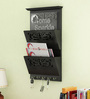 Home Sparkle Black Engineered Wood Letter Rack Cum Key Holder