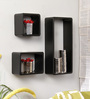 Santa Lucia Contemporary Wall Shelves Set of 3 in Black by CasaCraft