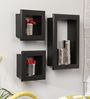 Sebastian Contemporary Wall Shelves Set of 3 in Black by CasaCraft
