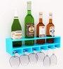 Home Sparkle Blue Wooden 4 Bottle Wine Rack