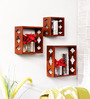 Feeder Eclectic Wall Shelves Set of 3 in Brown by Bohemiana