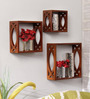 Evanescence Eclectic Wall Shelves Set of 3 in Brown by Bohemiana