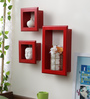 Ovidio Contemporary Wall Shelves Set of 3 in Red by CasaCraft