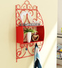 Home Sparkle Red Mild Steel Wall Shelf with Key Holder