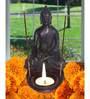 Akkrum Buddha Tea Light Holder in Black by Mudramark