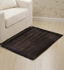 Homefurry Bathe Stripes Grayish Brown Cotton Bath Mat
