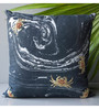 Homeight Black Cotton 16 x 16 Inch Marblania Crab Space Cushion Cover