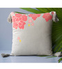 Homeight Off White Cotton 16 x 16 Inch Peony Hysteria Falling Peony Cushion Cover