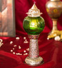 Homesake Silver & Green Brass Small Moroccan Melon Pillar Showpiece