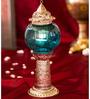 Homesake Silver & Blue Brass Small Moroccan Melon Pillar Showpiece