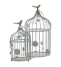 Homesake Silver Powder Coated Iron Bird Cage with Floral Vine Candle Holder - Set of 2