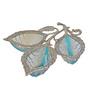 Homesake India Blue Metal Leaf-shaped 3-bowl Serving Tray