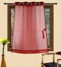 HomeStop Red Polyester 48 x 60 Inch Ivy Window Curtain - Set of 2
