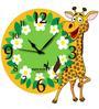 Hoopoe Decor Bay Giraffe with Flowers Kids Wall Clock