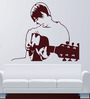 Hoopoe Decor Brown Vinyl Boy Singing with Guitar Wall Decal