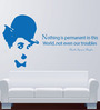 Hoopoe Decor Blue Vinyl Charlie Chaplin Nothing Is Permanent Wall Sticker