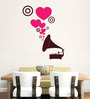 Hoopoe Decor Brown Vinyl Gramophone with Lovely Music Wall Sticker