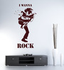 Hoopoe Decor Brown Vinyl I Wanna Rock Wall Sticker