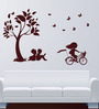 Hoopoe Decor Vinyl Kids Studying & Playing Under Tree Wall Decal