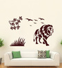 Hoopoe Decor Brown Vinyl Lion with Birds Wall Decal