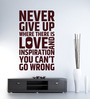 Hoopoe Decor Vinyl Never Give Up Wall Decal