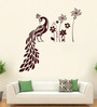 Hoopoe Decor Brown Vinyl Peacock with Flower Wall Decal