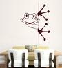 Hoopoe Decor Brown Vinyl Peeping Frog Wall Decal