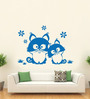 Hoopoe Decor Vinyl Two Cats Sitting on the Grass Wall Decal