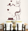 Hoopoe Decor Brown Vinyl Zebra with Birds Wall Decal
