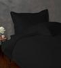 HotHaat Black Cotton Solid King Duvet Cover - Set of 3