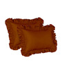 Hothaat Solid Brick Red King 2Pc Ruffle Pillow Covers