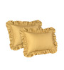 Hothaat Solid Gold Queen 2Pc Ruffle Pillow Covers