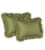Hothaat Solid Moss Queen 2Pc Ruffle Pillow Covers