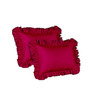 Hothaat Solid Wine Standard 2Pc Ruffle Pillow Covers