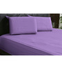 HotHaat Violet Cotton Solid King Fitted Sheet (with Pillow Covers) - Set of 3