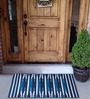 House This Blue Cotton 35 x 24 Inch Door Mat