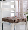 House This Brown Cotton 16 x 16 Inch Stripe Chair Pad