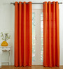 House This Orange Cotton 60 x 48 Inch Solid Window Curtain - Set of 2