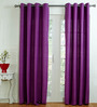 House This Purple Cotton 90 x 48 Inch Solid Door Curtain - Set of 2