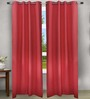 House This Red Cotton 90 x 48 Inch Solid Eyelet Door Curtain - Set of 2